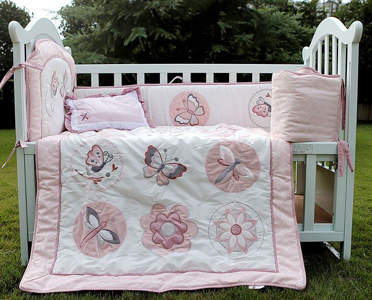 Embroidery Flowers Butterfly cotton Baby Crib Bedding set 4pc for Girls Cot bed kit 3d Quilt Pillow Bumper bed rest US $129.00