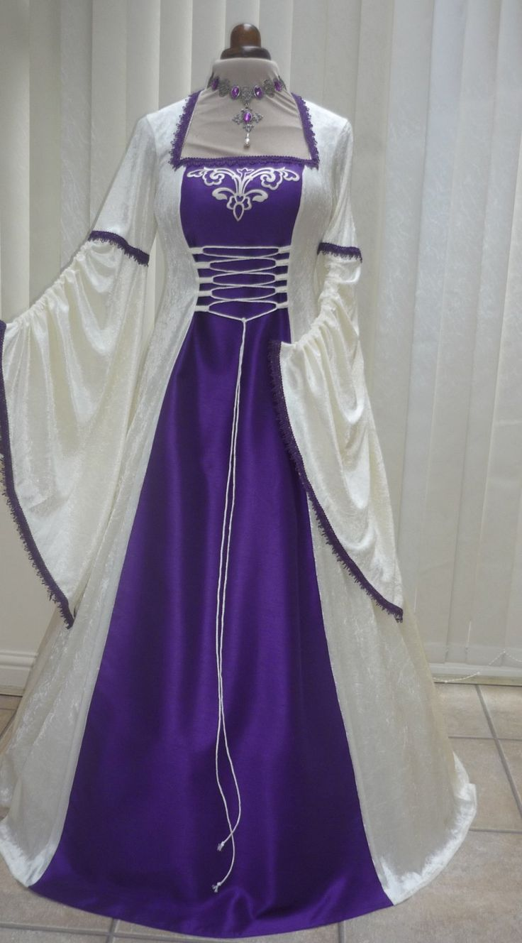 Medieval pagan ivory and purple wedding dress dawns medieval dresses