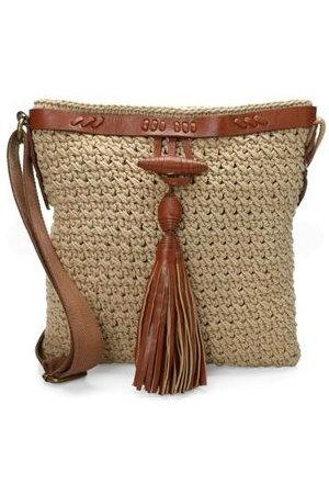 Natural Crochet Tassel Across Body Bag
