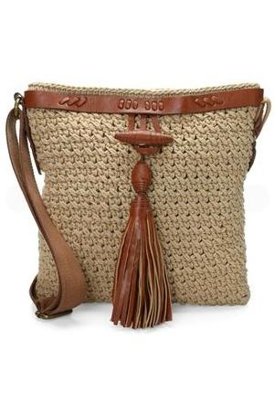 Linda bolsa,crochet e couro,adoro.