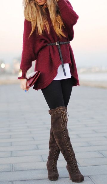 Large knit, oversized, comfy sweater. Black leggings. Knee high boots. Belt. Red and brown. Great fall outfit.