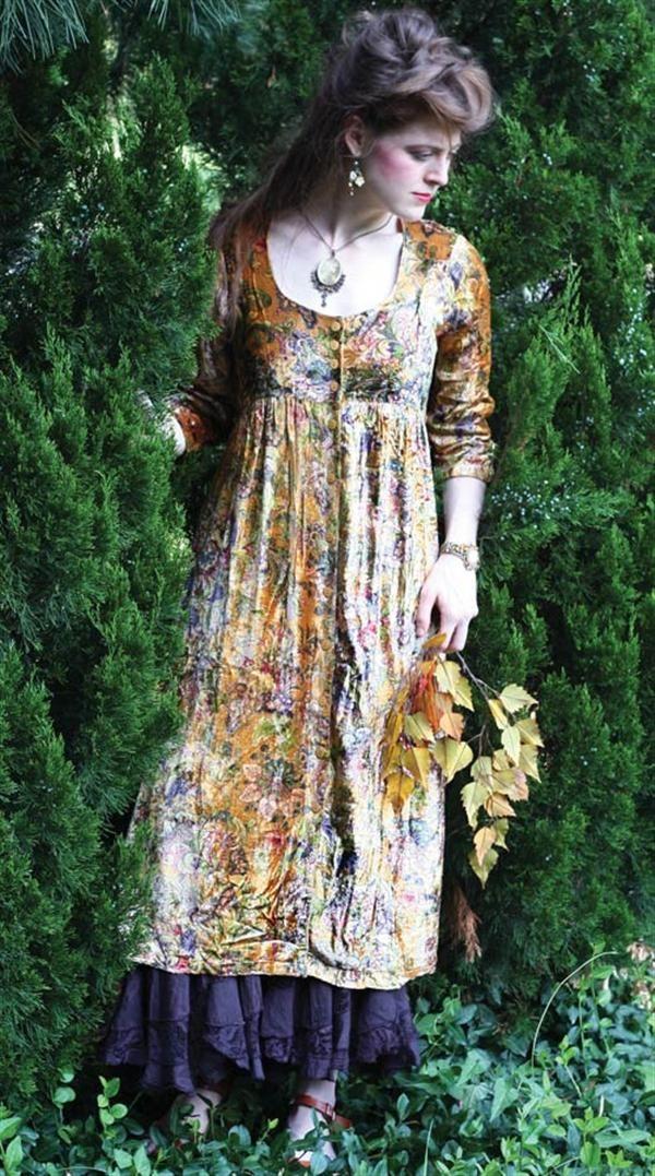 APRIL CORNELL DEMETER DRESS - Floral Velvet Dress
