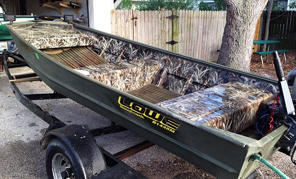 Capt. Kyle Larson's step by step, economical tip for putting a great looking camo pattern on his duck boat or any hunting accessory.