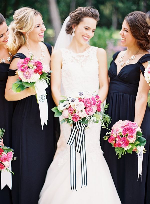Gorgeous Black, White, and Pink Bridesmaids | Jordan Brittley Photography | http://heyweddinglady.com/whimsical-kate-spade-wedding-black-tie/