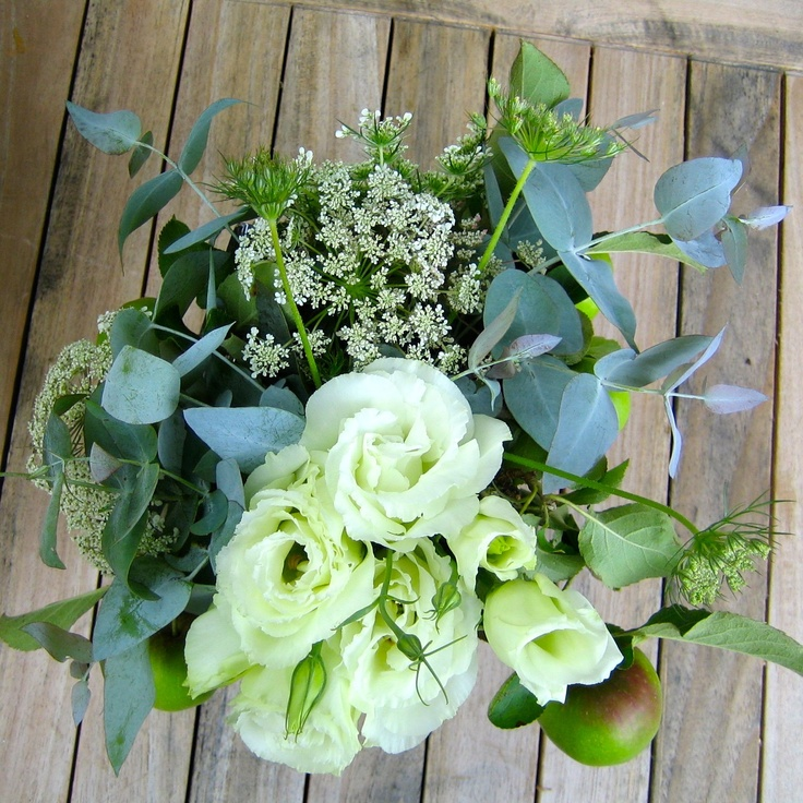 Lisianthus and gum leaves