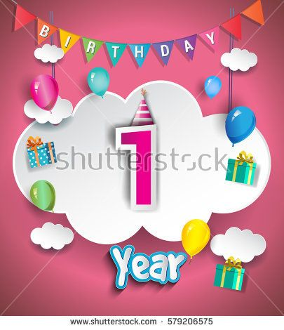 1st Anniversary Celebration Design, with clouds and balloons. using Paper Art Design Style, Vector template elements for your, one year birthday celebration party.