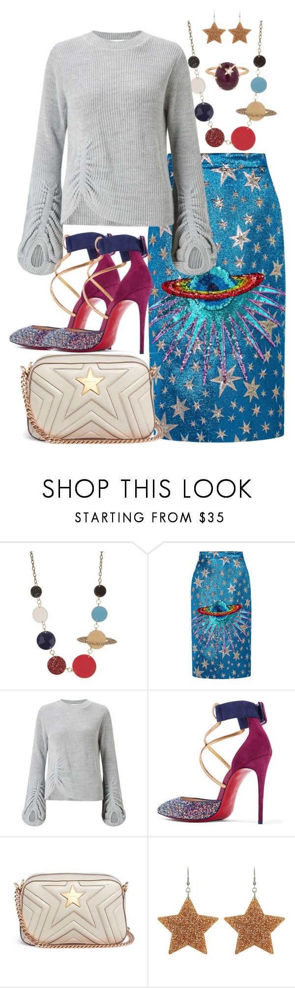 """baby you're a star"" by melannf ❤ liked on Polyvore featuring Gucci, Miss Selfridge, Christian Louboutin, STELLA McCARTNEY and Andrea Fohrman"