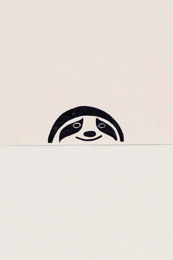 Friendly sloth peek-a-boo stamp kids gift by WoodlandTale on Etsy