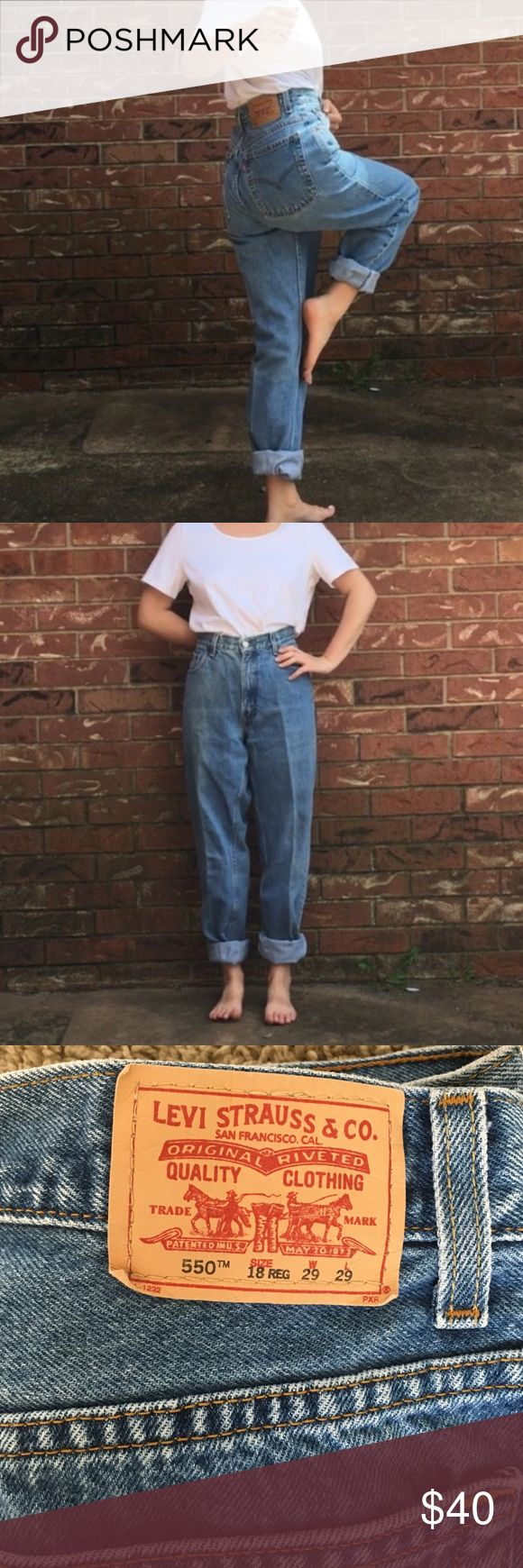 Levi's 550 mom jeans Vintage Levi's 550 mom jeans in excellent condition! Waist is 27/28 inches and the inseam is 28 inches but can always but cut or rolled to adjust ❤️ Levi's Jeans