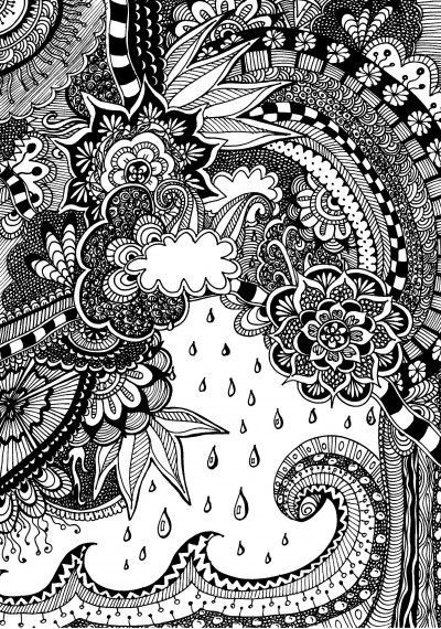 free coloring page for adults nature with doodles zentangle nature gratis kleurplaat voor. Black Bedroom Furniture Sets. Home Design Ideas