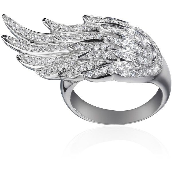 AS29 Pinky Wing Ring found on Polyvore featuring jewelry, rings, white diamond ring, wing jewelry and wing ring