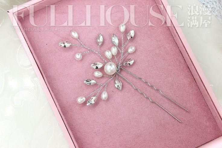 Невеста пластина из кристалла горного хрусталя тиары небольшой Европы U-образный зажим жемчужина контактный небольшой гребень волос вставлена шпилька шпилька шпилька - Taobao