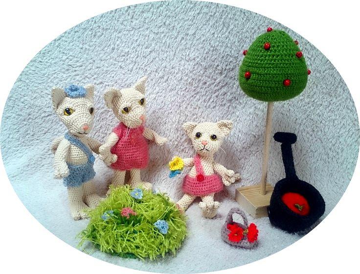 kertészkedő cica család gardening cat family