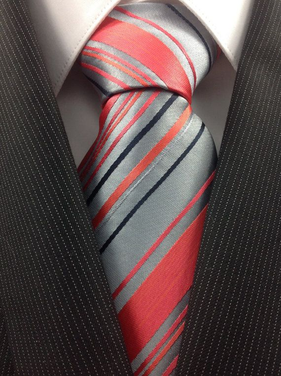 Silver with Coral and Dark Navy Stripe Necktie on Etsy, $19.98