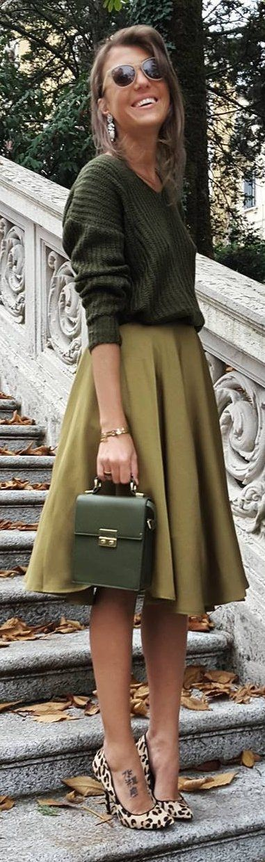#winter #fashion /  Green Shades Outfits / Leopard Pumps