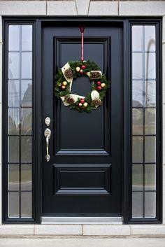 black front door with black trim