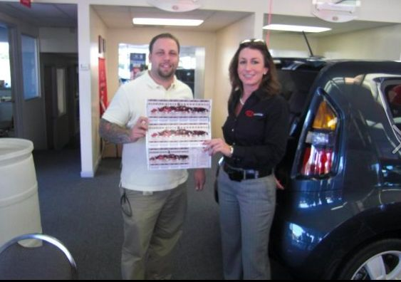 Greg Kulbick stops to pose with Melanie Lee, General Manager of Kia Autosport. Greg was the winner of a pair of FSU mens basketball season tickets. This is our first of many Facebook fan appreciation contests. Look out for our next one soon!