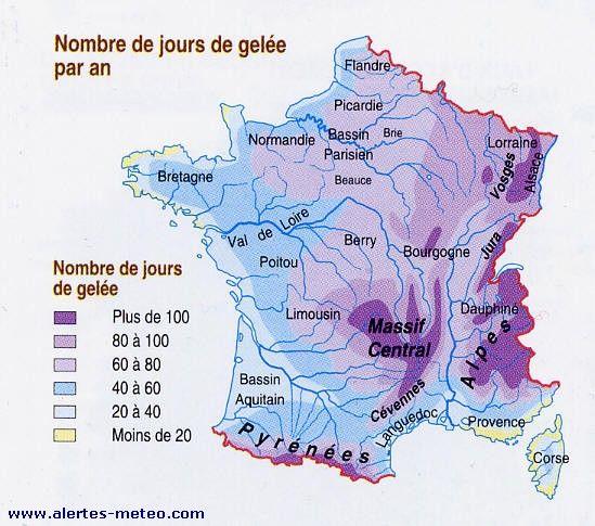 Le nombre de jours de gelée par an sur la France