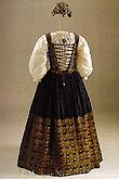 Hungarian National Museum Skirt and bodice	       	with ladies' embroidery of Catherine of Brandenburg, consort of Gábor Bethlen. Transylvania, c. 1626