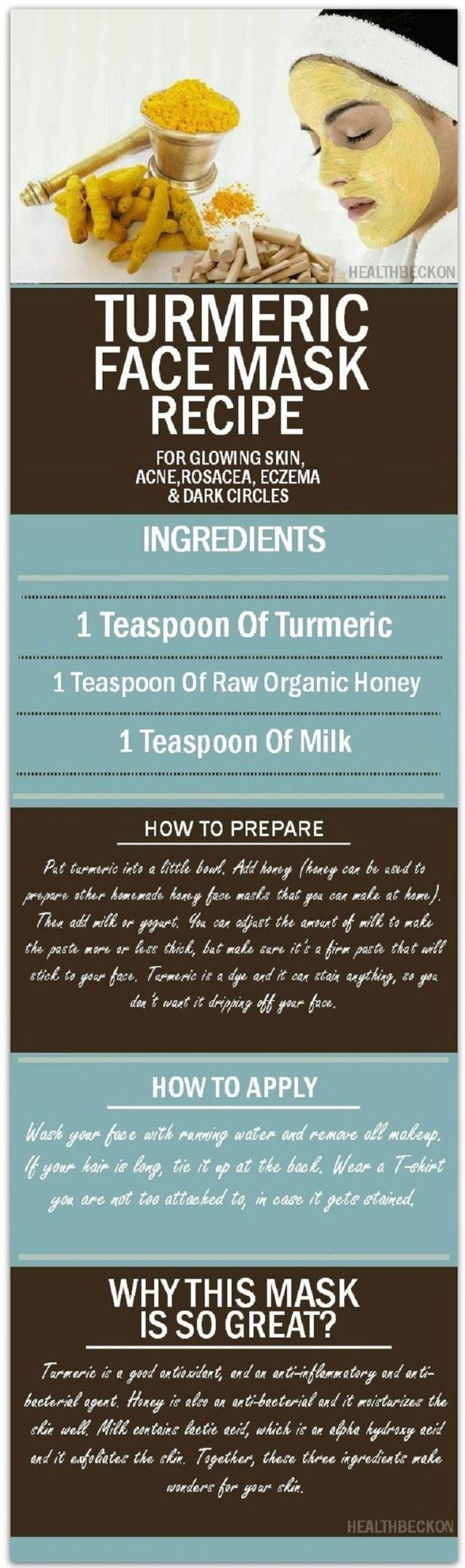 Turmeric Face Mask Recipe for Glowing Skin, Acne, Rosacea, Eczema and Dark Circles http://www.jexshop.com/