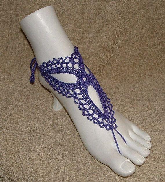 Crochet Barefoot Sandals Beachwear Bracelet Rings omg they have my color!