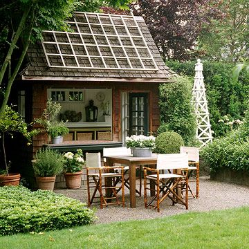 garden houseGarden Sheds, Potting Sheds, Pools House, Pool Houses, Outdoor Kitchens, Gardens House, Outdoor Spaces, House Garden, Entertainment Spots
