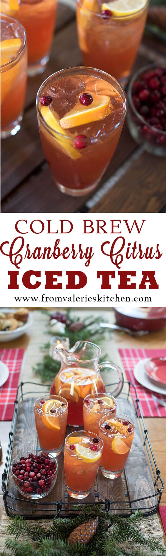 A fast, easy cold brew method creates this vibrant winter-inspired beverage. Brighten up your next winter meal with Cold Brew Cranberry Citrus Iced Tea. #BrightBites #ad