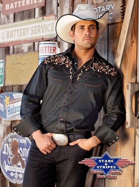 Corbeto's Boots | 50-RYAN | Camisa vaquera Stars & Stripes flores bordadas para hombre |  Floral embroidery mens western shirt.