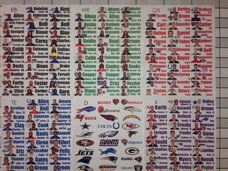 2016 Fantasy Football Draft Kit Full Color Photo Player Labels XL Board Rookies #ProDraftKits
