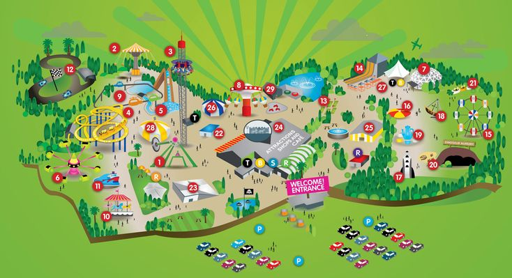 Flambards Theme Park - interactive map. You can check which rides have height restrictions.