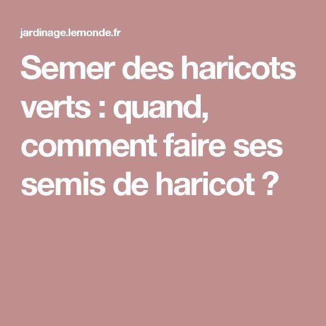 Awesome Quand Semer Haricots Verts #5: Semer Des Haricots Verts : Quand, Comment Faire Ses Semis De Haricot ?