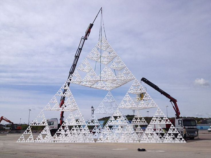 The largest Sierpinski pyramid so far. 17,25m (56ft 7in) tall. May 2014. Made for the International Science Festival in Gothenburg, Sweden.