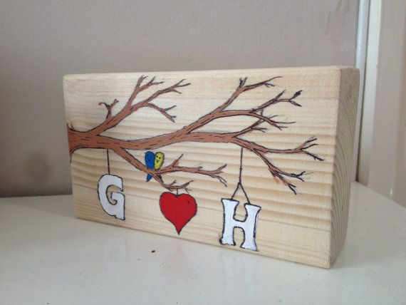 Love branch. Hand painted to order with initials of by Natstuff, £20.00