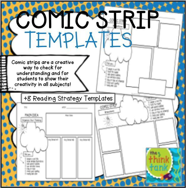 Comic Strip Templates With Checklist And Brainstorm Bubbles