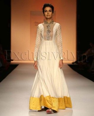 #Exclusivelyin, #IndianEthnicWear, #IndianWear, #Fashion, Sanea Cream Long Anarkali With Woven Yellow Border