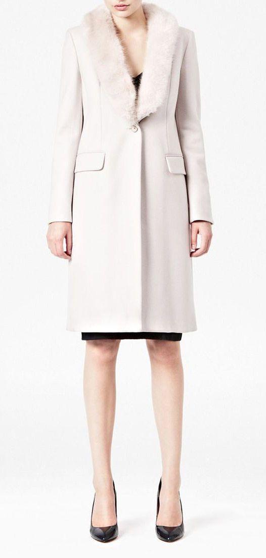 French Connection Queen Coating Longsleeve Classic Coat in Beige (Cream)