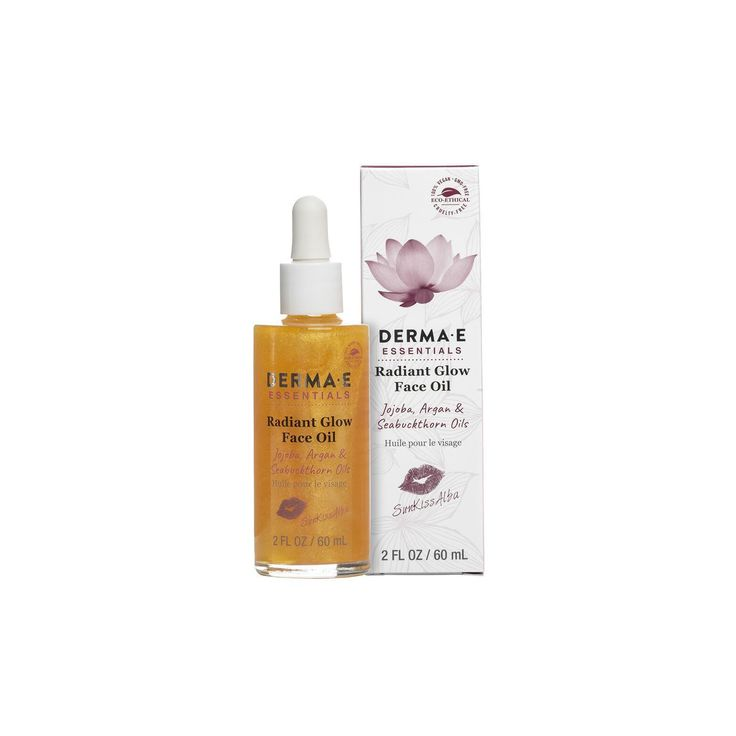 Derma E SunKissAlba Radient Glow Face Oil 2 fl oz. Delivers advanced protection against environmental stressors and improves overall skin hydration. It effectively diminishes signs of aging and dryness with a powerful formula infused with replenishing oils, making your skin appear younger and healthier.