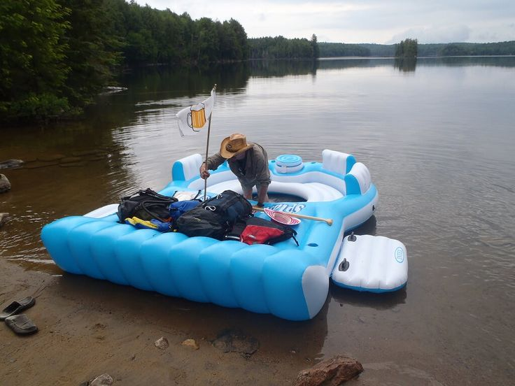 Did you really go paddling an inflatable party island in Algonquin Park? I get asked about this a lot lately. The answer is - You bet your ass we did. We are just getting the story to you now...    This past summer turned out to be a tough year for the ManCamping canoe. It suffered a catastrophic