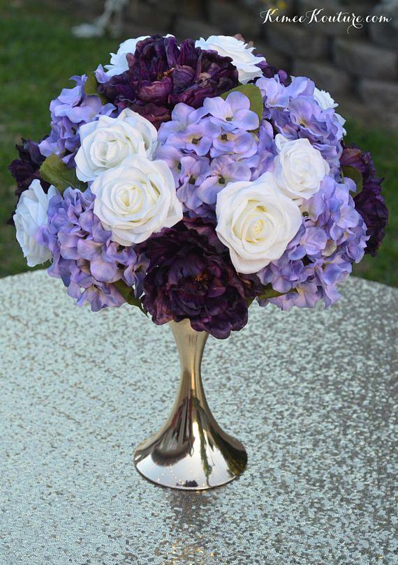 Exceptional PLUM LAVENDER IVORY Wedding Centerpiece Arrangement. Half Ball