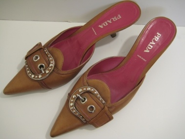 PRADA NATURAL CAMEL TAN BROWN LEATHER BUCKLE KITTEN HEELS MULES SHOES SIZE 10 $249.99