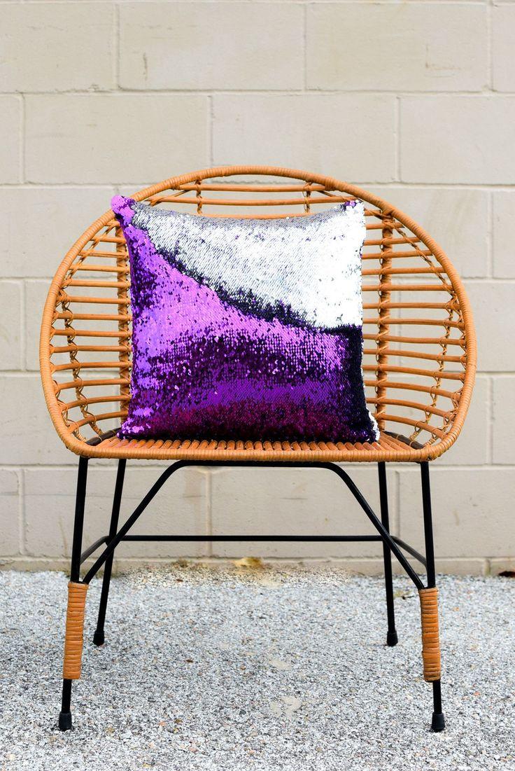 Amethyst Purple & Silver Mermaid Pillow