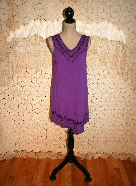 Solid Purple Beach Dress Boho Cover Up Bohemian by MagpieandOtis