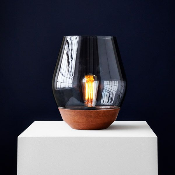 New Works Bowl table lamp, raw copper - light smoked glass | Table lamps | Lighting | Finnish Design Shop