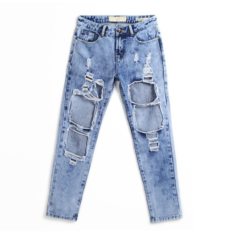 Hot Sale Women Plus Size Vintage Torn Jeans Casual Washed Holes Ripped Denim Jeans Sky Blue White Trousers Female Pants QL1029