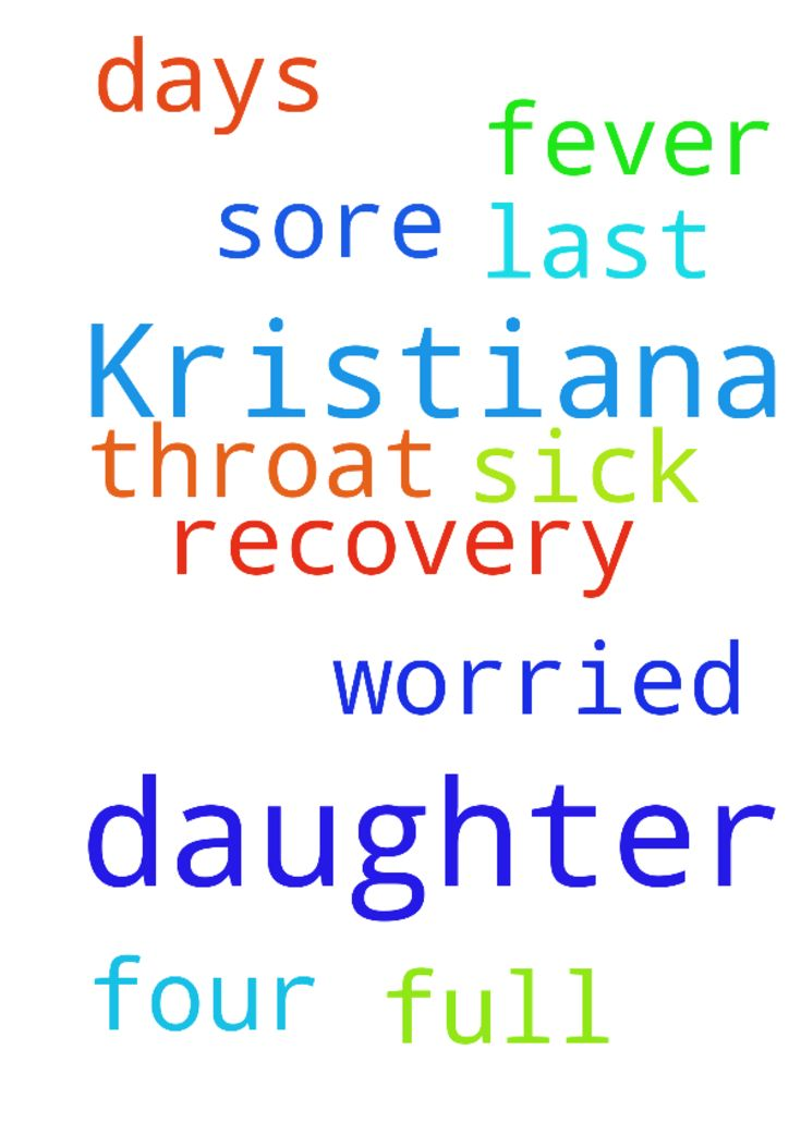 Please pray for my daughter Kristiana, - Please pray for my daughter Kristiana, she is sick with a fever and very sore throat for the last four days. I am so worried about her. Praying for a full recovery. Thank you  Posted at: https://prayerrequest.com/t/ub8 #pray #prayer #request #prayerrequest
