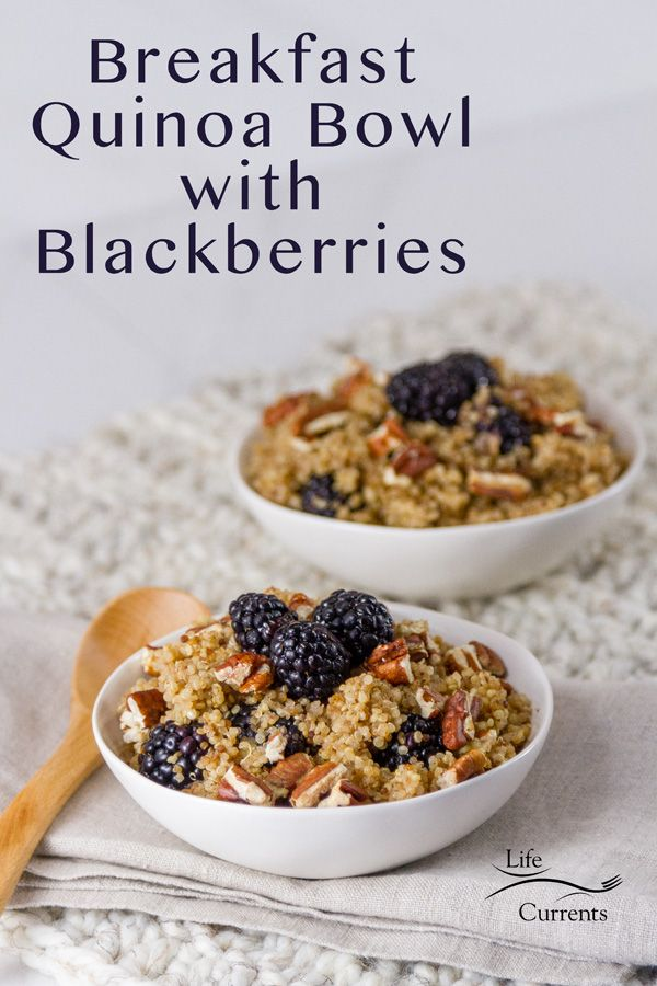 A Warm Bowl Of Lightly Sweetened Quinoa Filled With Tart Blackberries And Nutty Pecans Breakfast Quinoa Bowl With In 2020 Quinoa Breakfast Quinoa Breakfast Bowl Food
