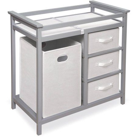 Badger Basket Modern Changing Table with 3 Baskets and Hamper, Choose Your Finish, Gray