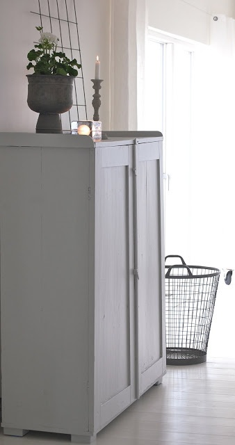 light grey painted cupboard :: diy idea for gentlemans cupboard. Could do chalkboard interior?