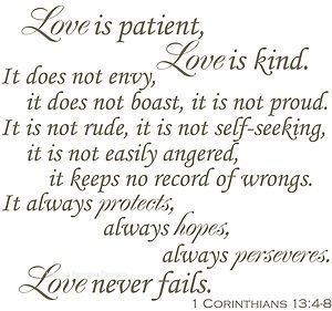 "love poem love is patient love is kind | Corinthians 13""4 8 Love Is Patient Love Is Kind Custom Wall Vinyl 12 ..."