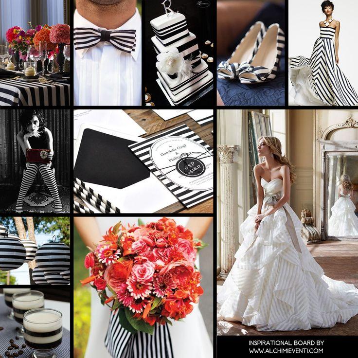 Stripes Inspirational Board- Matrimonio a righe bianche e nere